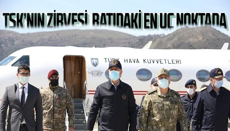 SON DAKİKA: Milli Savunma Bakanı Hulusi Akar ve TSK'nın komuta kademesi Gökçeada'da! Rüzgar Alayı'nı denetledi
