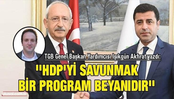 TGB Genel Başkan Yardımcısı Işıkgün Akfırat yazdı: ''HDP'yi savunmak bir program beyanıdır''