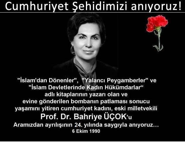 Bahriye Üçok Katledilişinin 31.yılında anılıyor, Bombacı PKK'lı çıkmıştı
