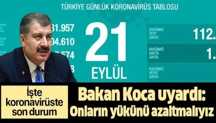Son dakika: İşte koronavirüste son durum! Sağlık Bakanı Fahrettin Koca 21 Eylül koronavirüs vaka sayılarını açıkladı