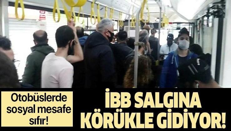 İBB otobüsünde yine aynı görüntü! Sosyal mesafe hiçe sayıldı