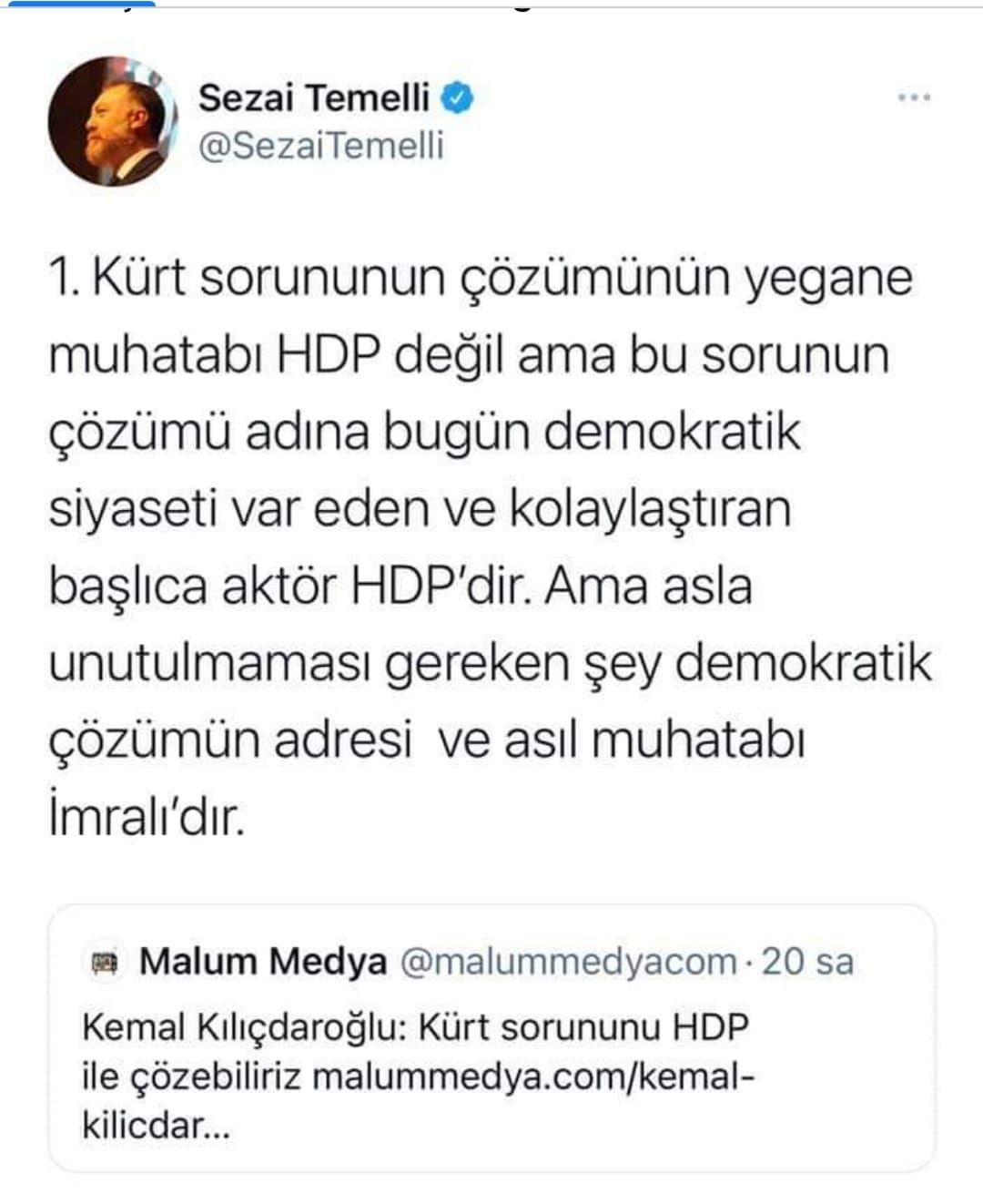 """Kılıçdaroğlu """"Kürt sorununu HDP ile çözeriz"""" diyor ve ilanı aşk ediyor. HDP ise """"Beni babamdan iste ki sana varayım"""" diyor"""