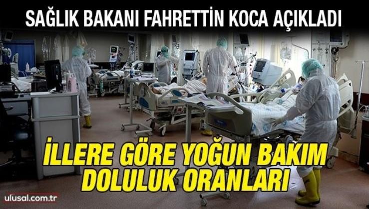 Sağlık Bakanı Fahrettin Koca açıkladı: İllere göre yoğun bakım doluluk oranları