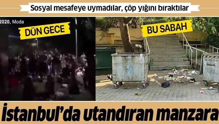 Caddebostan'da utandıran manzara! Sosyal mesafeye uymadılar, çöp yığını bıraktılar