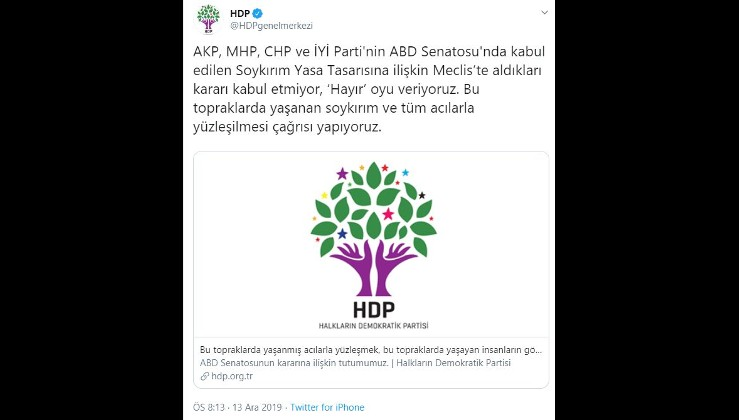 ABD'nin soykırım yalanına HDP'den destek