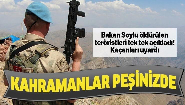 Son dakika: Bakan Süleyman Soylu'dan terörle mücadele mesajı: Kahramanlar peşinizde