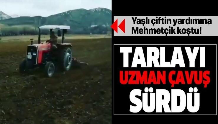 Jandarmadan duygulandıran yardım: Evden çıkamayan çiftçinin tarlasını uzman çavuş sürdü.
