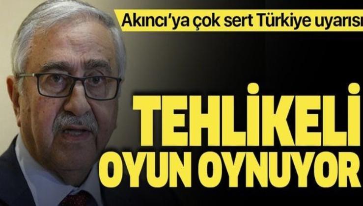 """KKTC'de Bakan Hasan Taçoy'dan Cumhurbaşkanı Mustafa Akıncı'ya uyarı! """"Oyun oynamayı bırak"""""""