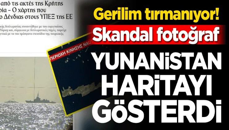 Gerilim tırmanıyor! Skandal fotoğraf… Yunanistan haritayı yayınladı