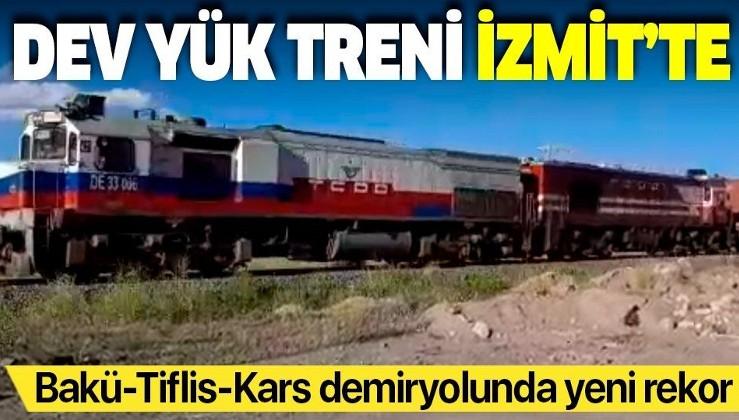 Bakü - Tiflis - Kars demiryolunda yeni rekor: Çin'den gelen dev yük treni İzmit'te