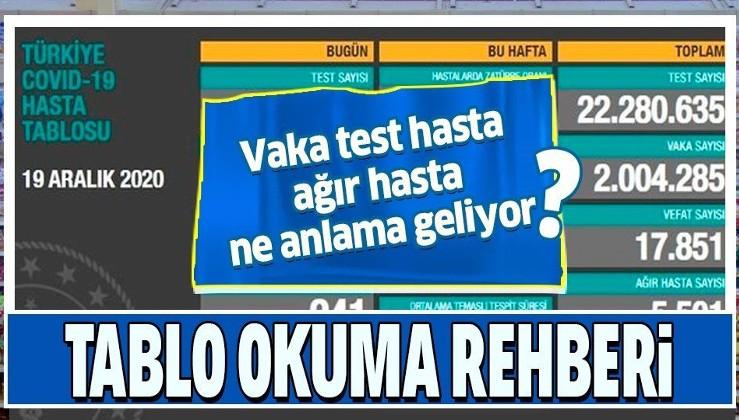 Sağlık Bakanlığı, 'Türkiye Günlük Koronavirüs Tablosu'nda yer alan terimlerin manalarını açıkladı