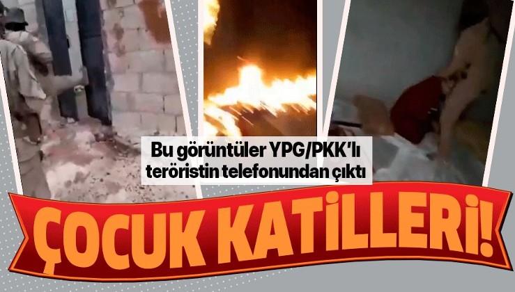 YPG/PKK'lı teröristin telefonundan çıkan görüntüler kan dondurdu! Kadın ve çocuğu katlettiler....