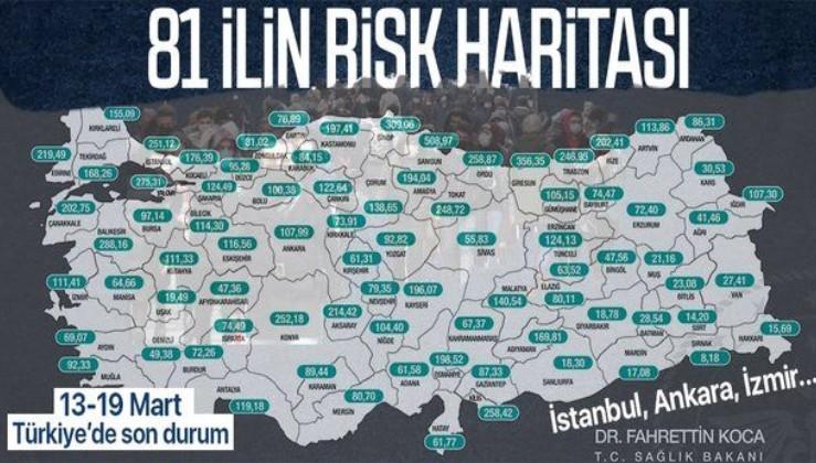 Sağlık Bakanı Fahrettin Koca açıkladı | 13-19 Mart koronavirüs haritası