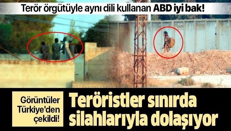 Görüntüler Türkiye'den çekildi! Teröristler sınırda silahlarıyla dolaşıyor.