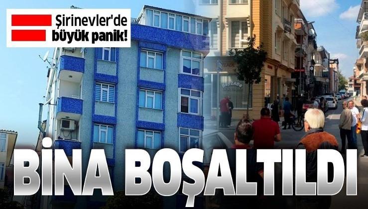 İstanbul'daki deprem sonrası Şirinevler'de yan yatan bir bina tahliye edildi.
