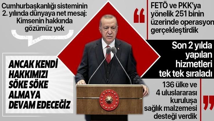 Erdoğan'dan Cumhurbaşkanlığı Hükümet Kabinesi İki Yıllık Değerlendirme Toplantısı'nda önemli açıklamalar