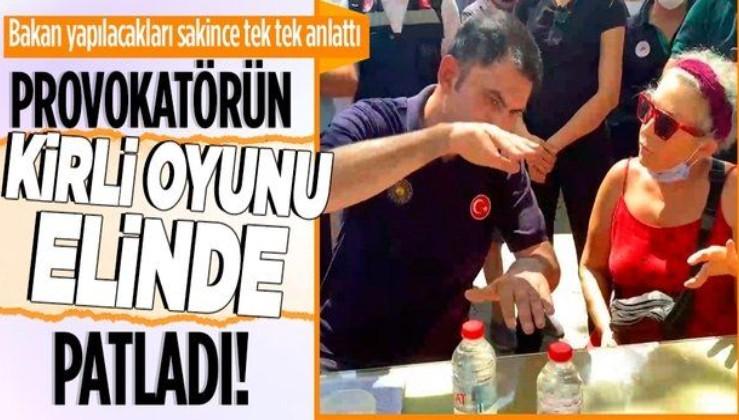 Çevre ve Şehircilik Bakanı Murat Kurum, şov peşinde olan provokatöre bölge halkı için yapılacakları tek tek anlattı