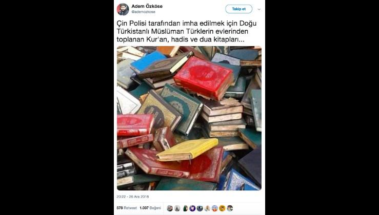 Fotoğrafın Çin'de Müslümanların evlerinden toplatılan Kur'an-ı Kerim'leri gösterdiği iddiası