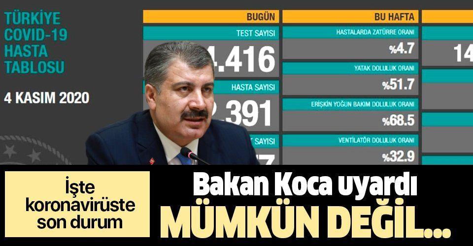 SON DAKİKA: Sağlık Bakanı Fahrettin Koca 4 Kasım koronavirüs sayılarını duyurdu | KOVİD-19 TABLOSU