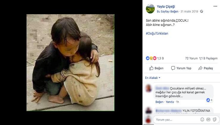 Fotoğrafın Uygur Özerk Bölgesinde birbirine sarılan iki kardeşi gösterdiği iddiası