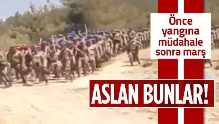 Hatay Dörtyol'da orman yangınına müdahale eden Mehmetçik Komando Marşıyla