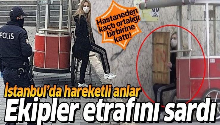 İstanbul'da hareketli anlar! Koronavirüs karantinasından kaçan kadın Taksim'de yakalandı