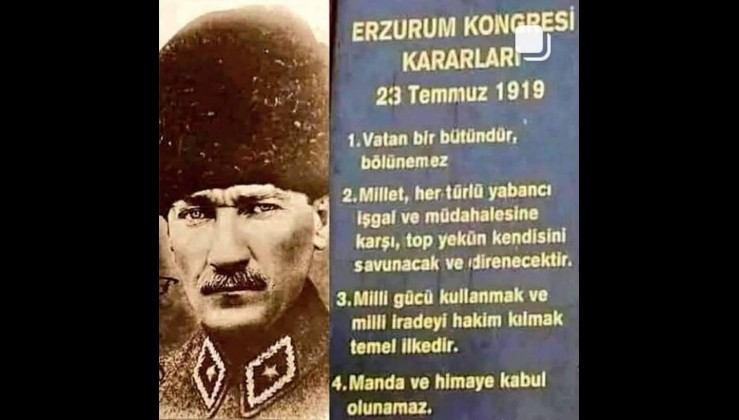 """Erzurum Kongresi: """"Manda ve himaye kabul edilemez"""""""