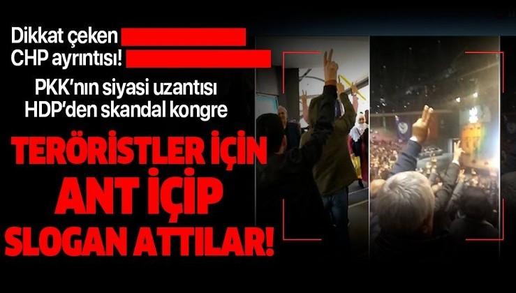 HDP'den skandal kongre! Teröristler için ant içip slogan attılar!