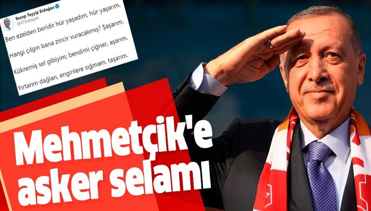 Erdoğan'dan Mehmetçik'e asker selamı.