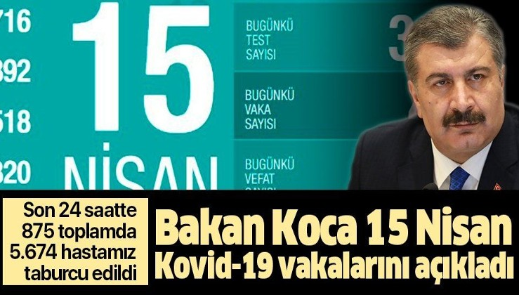 Son dakika: Bakan Koca 15 Nisan Kovid-19 vaka sayılarını açıkladı