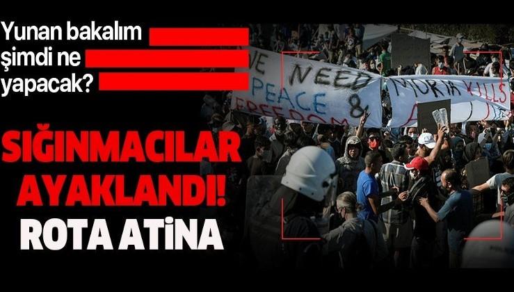 Yunanistan'da sığınmacılar ayaklandı! Rota Atina