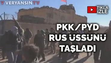 PKK/PYD Ayn İsa'da Rus karakolunu taşladı