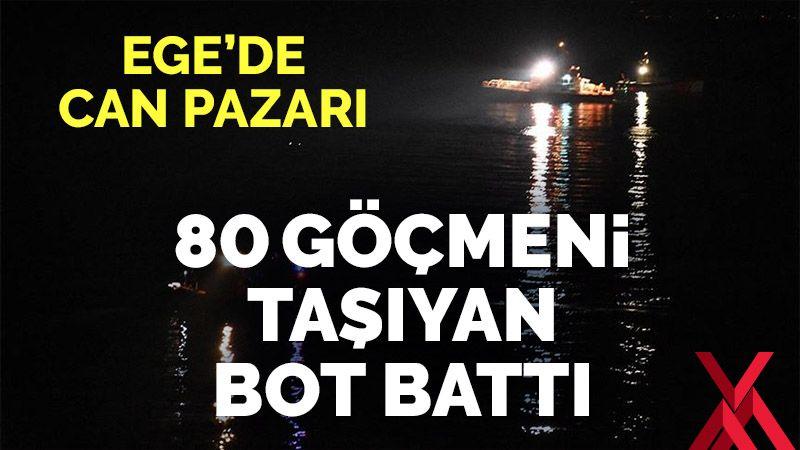 Herke Adası açıklarında göçmenleri taşıyan bot battı