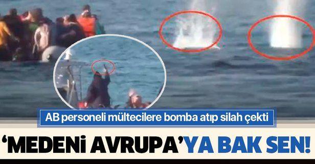 AB sahil güvenlik personelinden insanlık dışı davranış! Mülteci teknesini batırmak için bomba atıp silah çektiler...