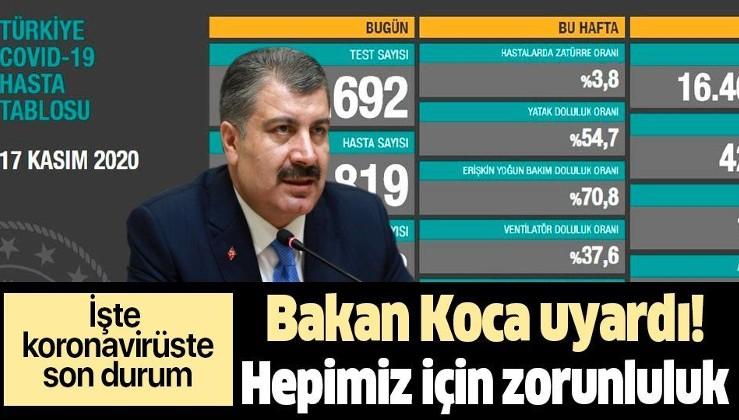 SON DAKİKA: Sağlık Bakanı Fahrettin Koca 17 Kasım koronavirüs sayılarını duyurdu   Kovid-19 tablosu