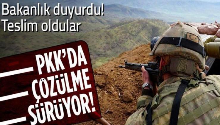 Terör örgütü PKK'da çözülme sürüyor! İçişleri Bakanlığı duyurdu: 3 terörist güvenlik güçlerine teslim oldu
