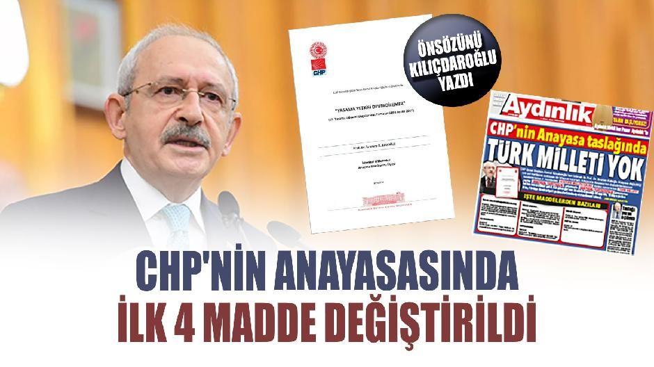 CHP'nin anayasasında ilk 4 madde değiştirildi