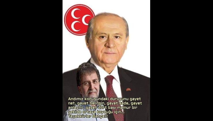 """Ahmet HAKAN, """" TEŞEKKÜRLER BAHÇELİ"""" yazısı..."""