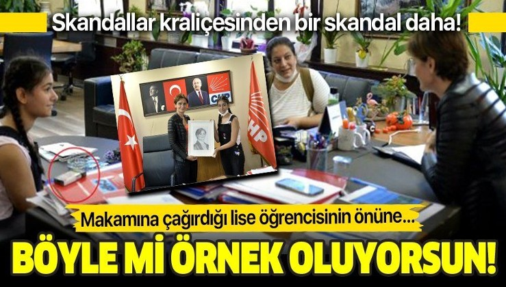 Skandallar kraliçesi CHP'li Canan Kaftancıoğlu'ndan bir skandal daha! Lise öğrencisinin ağırlarken masaya sigara koydu!
