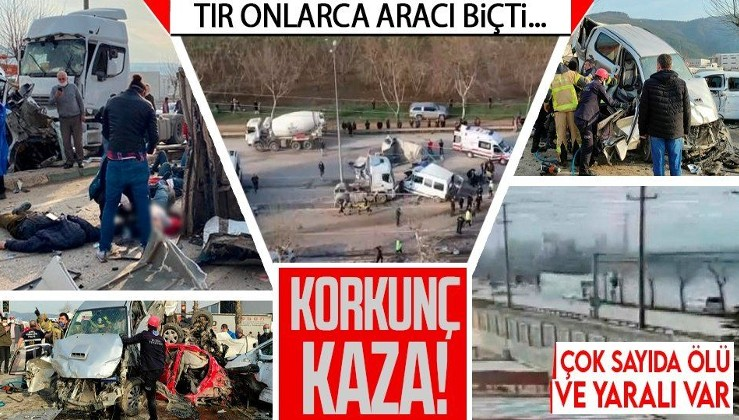 Son dakika! Bursa-Ankara yolunda freni boşalan TIR, onlarca aracı biçti!