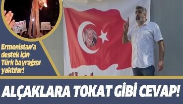Lübnan'da Türk bayrağı yakan alçaklara tokat gibi yanıt