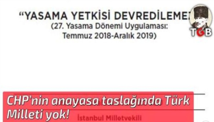 CHP'nin anayasa taslağında Türk Milleti yok!