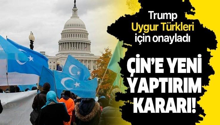 """Son dakika: ABD Başkanı Trump """"Uygur Türkleri"""" için Çin'e yaptırım uygulanmasını öngören yasa tasarısını onayladı"""