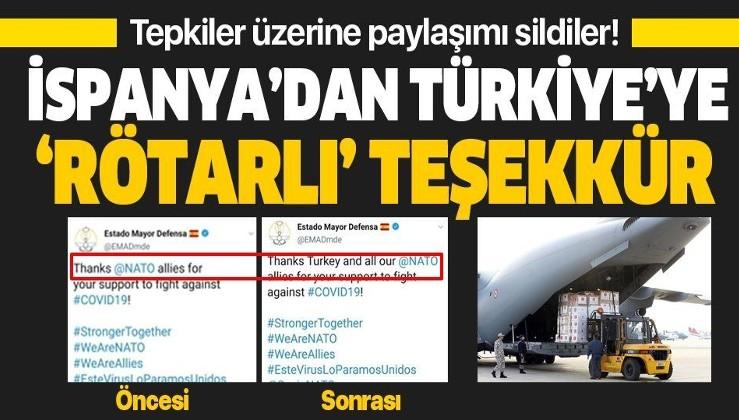 İspanya'dan Türkiye'ye 'rötarlı' teşekkür! Tepkiler üzerine paylaşımı düzelttiler.