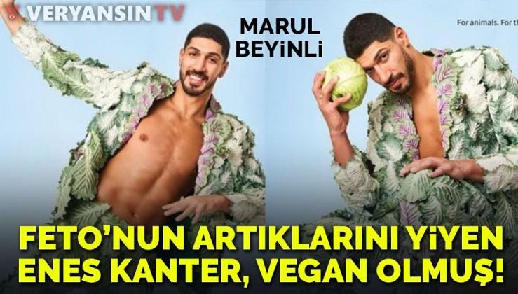 FETÖ'nün artıklarını yiyen Enes Kanter, vegan dergisine soyundu