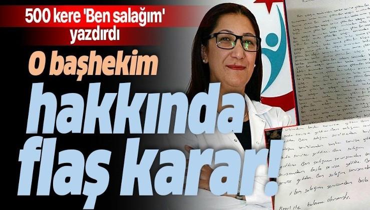 Hemşirelere 500 kere 'Ben salağım' yazdıran Başhekim Ayşegül Alkan'ın görevine son verildi