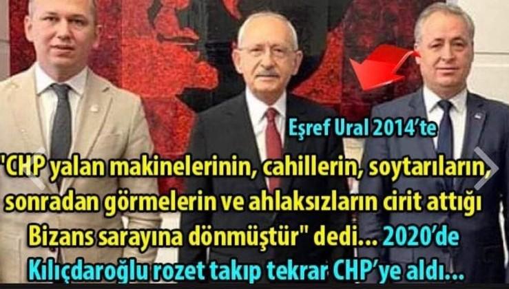 2014 yılında CHP'den istifa edip Ak Partiye geçerken yukarıdaki sözleri basın önünde sarf eden Eşref Ural'ı, bu defa Kılıçdaroğlu rozet takarak Y-CHP'sine kazandırıyor;