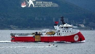 Doğu Akdeniz'de doğalgaz arayan sismik araştırma gemisi 'Barbaros Hayreddin Paşa', Çanakkale Boğazı'nda