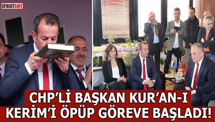 CHP'li başkan Tanju Özcan, Kur'an-ı Kerim'i öpüp göreve başladı!