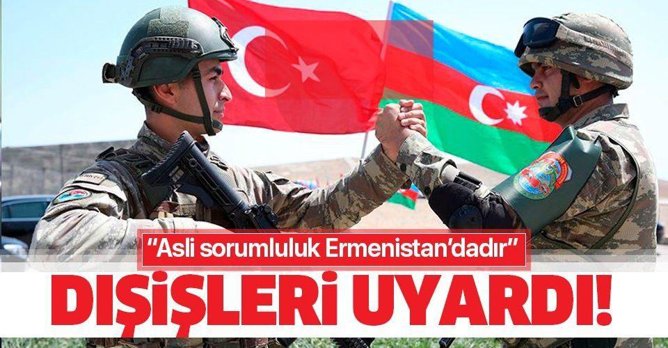Dışişleri Bakanlığı'ndan Azerbaycan'a yönelik saldırılarını sürdüren Ermenistan'a tepki: Ateşkes rejiminin açık ihlalidir